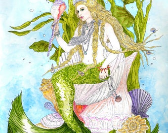 Mermaid Queen on Shell Throne Print Fantasy Art Pen and Ink Watercolor Illustration Wall Art Beach Decor