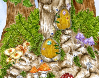 Fairy Elf Gnome Tree House Fantasy Woodland Art Print Enchanted Forest Mushrooms Faerie Doors Ink and Watercolours Giclee