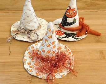 Halloween Witch Hats Bowl Fillers Beige Ornaments Holiday Decorations