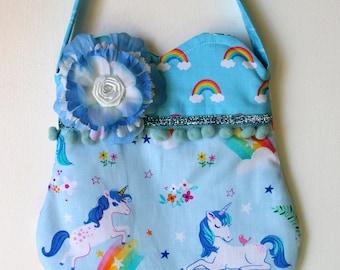Happy Little Blue Unicorns  and rainbows Purse, girls purse, toddler purse, spring purse, girlie purse