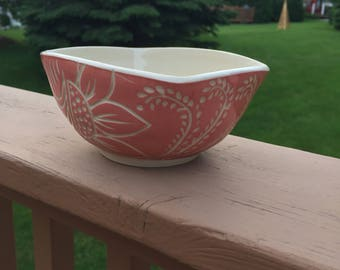 Pottery Bowl - Ceramic Floral Bowl - Handmade Pottery and Ceramics