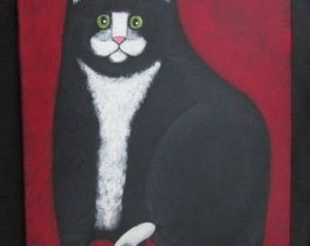Original Chubby Tuxedo Cat with Green Eyes Kitty  11 x 14  Acrylic on Canvas Portrait Painting  by Ellen Haasen