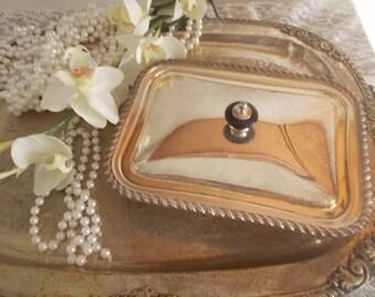 English Silver lidded dish bakelite knob covered dish