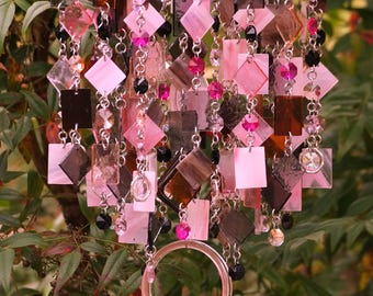 Unique Wind Chimes - Suncatcher - OOAK Gift For Her, Anniversary, Birthday, Wedding, Housewarming, Rose et marron