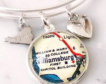 Williamsburg Map Charm Bracelet - Williamsburg Bracelet - Williamsburg Charm Bracelet - College of William and Mary Bracelet