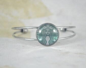 STARBUCKS Bangle Bracelet - Domed Starbucks Logo on Silver  Bangle Bracelet