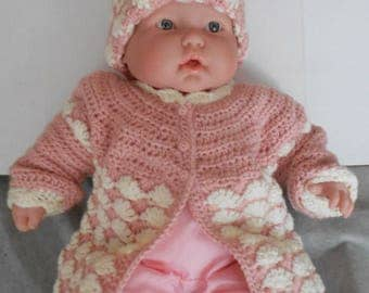 Crocheted Sweater Set -Pink Sweater and Hat - Size Six months Sweater and Hat - Dusty Rose and Antique White Sweater Set - Baby Girl Sweater