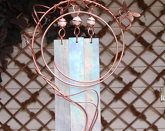 Dragonfly Wind Chimes Copper Garden Glass Windchime Yard Art Sculpture Stained Glass Decor Lawn Ornament White