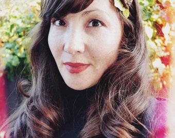 Boho Woodland Inspired Bridal Flower Hair Comb - Clip With Dark Brown & Ivory Silk Flowers Green Velvet Leaves * READY TO SHIP * Shabby Chic
