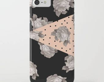 floral and geometric iphone case-roses-dots-black and peach-modern floral samsung phone cover-gray roses-cute gift for her-pretty phone case