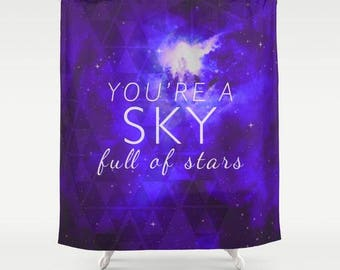 fabric shower curtain-typography-song lyrics-quote-love words-galaxy theme-stars-night sky-purple-white-bathroom decor-home decor