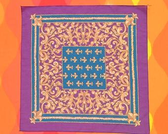 80s vintage bandana FLEUR-DE-LIS new orleans louisiana french scarf handkerchief purple gold