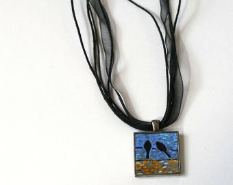 Art Necklace , FREE Shipping, Bird on a Wire, Acrylic Painting, Original Painting, Pendant , Wearable Art, Necklace, Handpainted Pendant