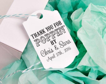 CUSTOM RUBBER STAMP Thank you for poppin by cute for  popcorn wedding favors, Custom Wedding Favors, Personalized Wedding --13050-Cb22-000