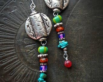 Southwestern, Pewter, Glass,, Ruby, Long Earrings, Gemstones, African Beads, Vintage, Unique, Organic, Primitive, Stamping, Beaded Earrings