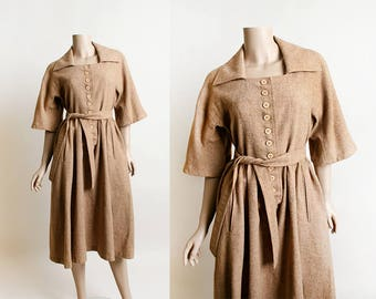 Vintage 1960s Dress - Wool Cocoa Tan Brown 60s Dress - Button Front Pockets - Belted - German - Medium Large