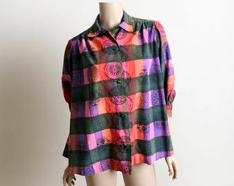 Vintage 1950s Tent Blouse - Medallion Print Plaid Gingham Button Up Blouse Shirt Top - Black Pink Purple Red - Cotton - Large