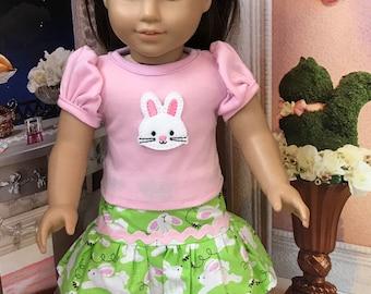 Easter Bunny Girl Doll clothes, Bunny face feltie top, ruffle tulle Easter fabric skirt, pink ballet flats, felt flower headband 4 piece set