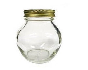 1 pc 6 oz Globe Glass Jar with Choice of Color Lid