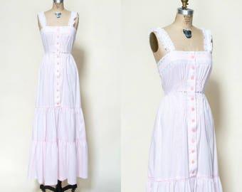 1970s Young Edwardian Dress --- Vintage Pink Maxi Dress