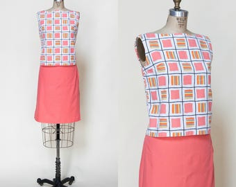 Vintage 1960s Skirt Blouse Set XS