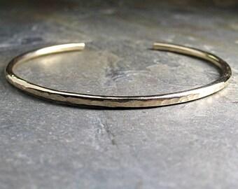 gold cuff hammered skinny minimalist gold-fill 14kt gold-fill gold filled cuff - CityLightsGold