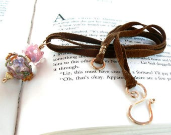 Pink Lampwork Pendant with Tobacco Brown Suede cord