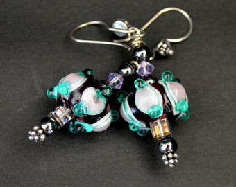 Ice Castle - Lampwork glass and Swarovski Crystal Earrings