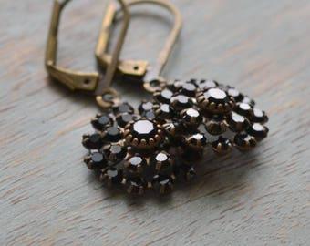Snowball Rhinestone, Estate Earrings, Old Hollywood Rhinestone Cluster Antiqued Brass Vintage Bride, Vintage Wedding, Black Rhinestone