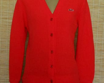 Vintage 70s Cardigan Golf Sweater, 1970s Women's Red Izod Lacoste Sweater w Alligator Logo, Size Small to Medium