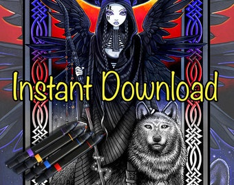 Set 12 - Grayscale Printable Coloring Pages - Myka Jelina Art - Fairy Coloring - Fantasy Coloring Pages - Download - Gothic - Angels