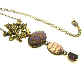 "Scottish Tartan Jewelry - Culloden Tartan ""Daughter of Scotland"" Necklace w/Embossed Thistle Bail and Aubergine/Amethyst Czech Glass Gem"