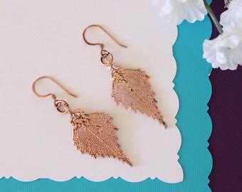 Birch Leaf Earrings Rose Gold, Birch Leaf, Small Size Earrings, 24kt Rose Gold Earrings, LESM208