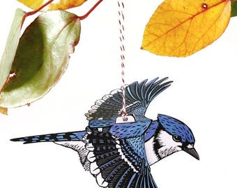 Bluejay Bird Mobile, paper art, diy craft, paper craft, bird craft, kids craft, baby mobile