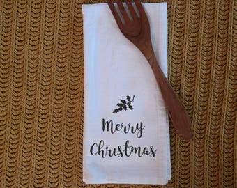 Tea Towel - Flour sack towel - Merry Christmas - Cotton Tea Towel - Kitchen towel - Dish Towel