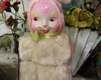Vintage Stuffed Bunny Rabbit with Celluloid Face Pink and White Fur Plastic Face Easter Toy