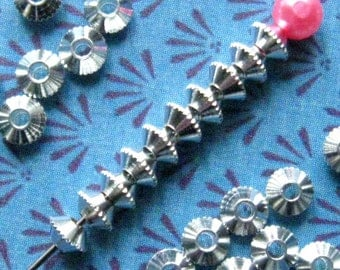 Silver Saucer Beads 4mm - 100 Pieces - Bright Silver Finish Spacer Beads, Silver Bicone Beads, Nickle Free, Textured Edge (SBD0021)