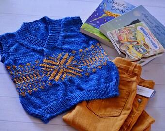 Hand Knit Fair Isle Boys Vest - wool vest, boys vest,