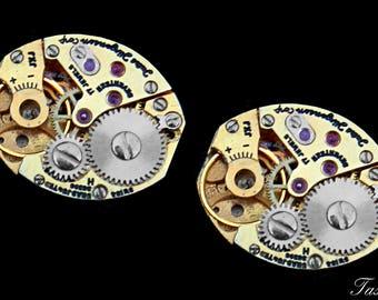 Steampunk Cufflinks, Gold or Silver, Wedding Cufflinks, Groomsman Gift, Fathers Day