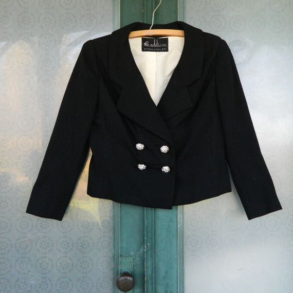 Vintage 1980s Addis Co Bill Blass Maurice Rentner Classy Cropped Jacket -10- Black Wool Suiting