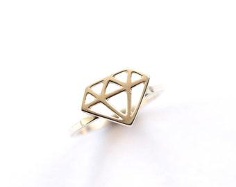 Diamond Ring, Sterling Silver Diamond Symbol Ring, Handmade Silver Ring, Super Diamond, RockCakes, Brighton UK