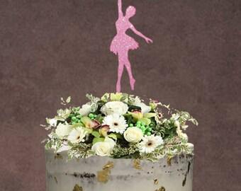 Ballerina Cake Topper ~ Ballet Cake Topper ~ Birthday Cake Topper ~ Dance Theme Cake Topper ~ Ballet Birthday ~ Pink Glitter
