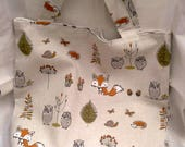 Woodland Animals Shopping Bag, Grocery Market Bag, handmade from Woodland Animals Cream Linen Fabric