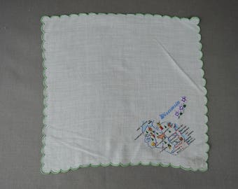 Vintage Hankie Wisconsin 1950s Novelty Embroidery