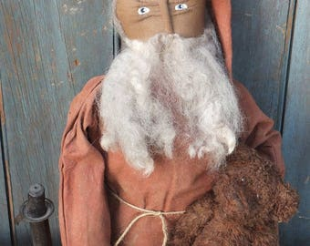 Primitive Folk Art Santa & Bear