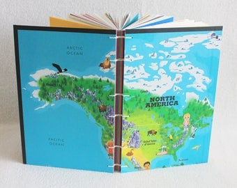 North America Travel Journal Recycled Our World Game Board Book Upcycled Board Game by PrairiePeasant
