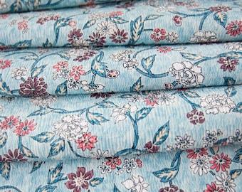 Pretty Blue Floral // Vintage Japanese Kimono Fabric