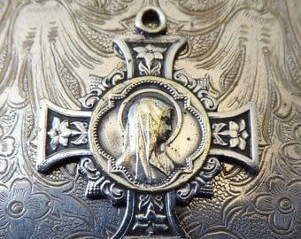 CLEARANCE SALE Ornate Vintage Catholic Holy Cross Religious Medal, The Immaculate Heart Of The Blessed Virgin Mary Our Lady Of Lourdes Mirac