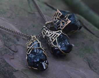 Schorl Stone Amulet - Black Tourmaline and Filigree Pendant