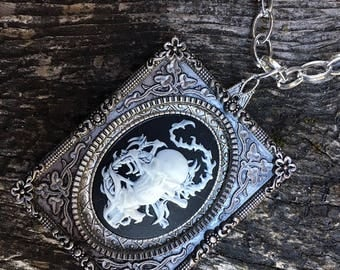 Pendant Necklace Framed Cameo Steampunk Fantasy Goth Pirate
